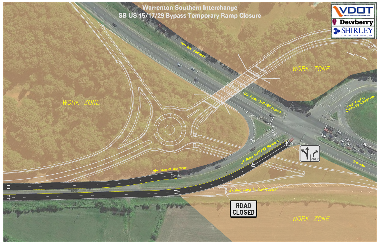 Graphic of temporary ramp closure for Warrenton Southern Interchange project