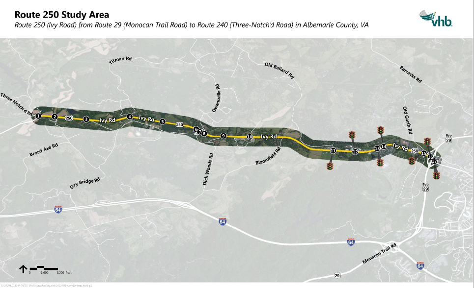 Map of Route 250 study area from Three Notched Road to the Route 29/250 Bypass